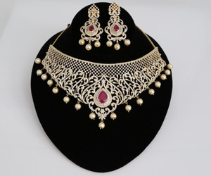 Gold plated Indian Bollywood AD Pearl Wedding CZ with Ruby Bead stone Bridal Fashion Jewelry Necklace Set