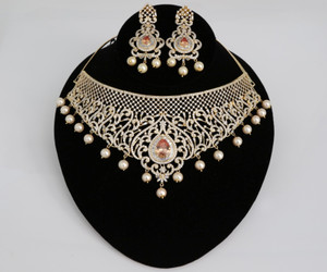 Gold plated Indian Bollywood AD Pearl Wedding CZ with Topaz Bead stone Bridal Fashion Jewelry Necklace Set