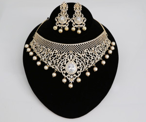 Gold plated Indian Bollywood AD Pearl Wedding CZ with White Bead stone Bridal Fashion Jewelry Necklace Set