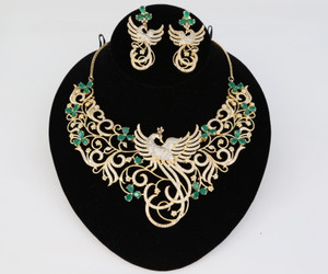 Peacock Designed Indian Bollywood AD Wedding CZ with Emerald stones Bridal Fashion Jewelry Necklace Set
