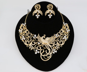 Peacock Designed Indian Bollywood AD Wedding CZ with White stones Bridal Fashion Jewelry Necklace Set