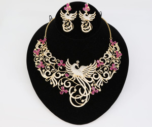 Peacock Designed Indian Bollywood AD Wedding CZ with Ruby stones Bridal Fashion Jewelry Necklace Set