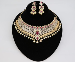 Gold plated Indian Bollywood AD Pearl Wedding CZ with Ruby stones Bridal Jewelry Necklace Set