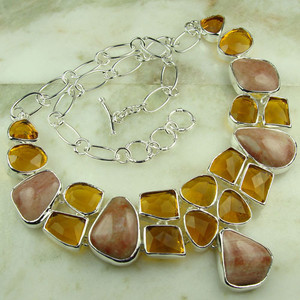 GEM168-925 silver fashion gemstone Rose quartz topaz
