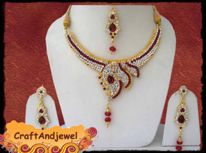 Indian Designer Necklace set with Siam Red and clear CZs, Kundan and dangling beads-CRJ911