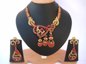 Exquisite fashion Jewelry with Red cz stones-CZ112
