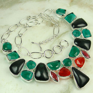 GEM161-925 silver fashion gemstone green quartz