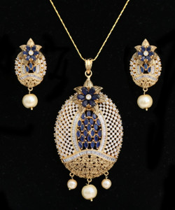 Oval Shaped American Diamond Pendant with Sapphire Blue,White CZ Stone and Faux pearl for Women