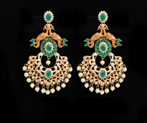 Women's Unique Handcrafted Golden Look Peacock designed Earrings Set with Emerald Stones