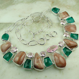 GEM169-925 silver fashion Rose quartz ,green  gemstone