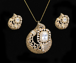 Women's Unique Handcrafted Golden Look Indian Designed Pendant Set with White Stones jewelry