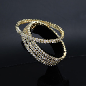 Gold Plated AD CZ Bridal Ethnic Indian Bangles Set