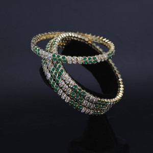 Indian Bollywood Green & Cz Stone Bangles.  Set of 4