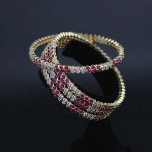 Indian Bollywood Ruby and White Cz Stone Bangle