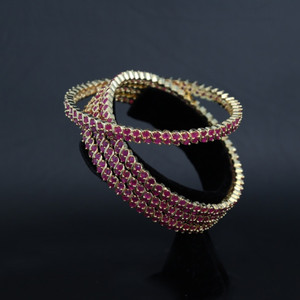 Indian Bollywood Designer 18K CZ Ruby Bridal 4 pc Bangle Set