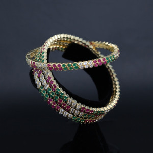 Ethnic Ruby, Emerald and white Stone Bollywood Bracelet Gold plated Bangle Set