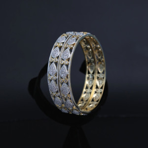 Gold Plated American Diamond Two Tone Bangles