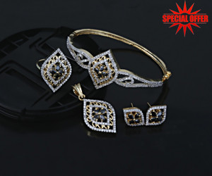 Indian Fashion Jewelry Black Color stone Bangle Pendant Earring set. Just $24.99