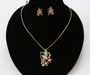 Gold Plated Butterfly Style Fusion Pendant Necklace and Stud