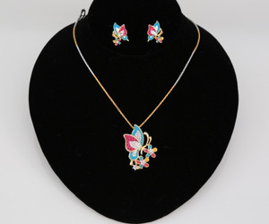 Colorful Butterfly pendant with matching earrings and necklace