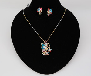 Daily use Color full butterfly pendant with earrings and Gold tone chain
