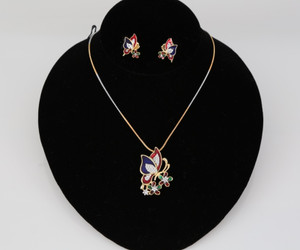 Butterfly designed gold plated necklace Earring set