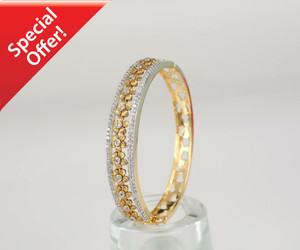 Flower Designer Gold Plated Indian Bangle Clear AD Stone Just $19.99