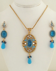 Antique Turquoise and clear crystal pendant necklace-023ATQP