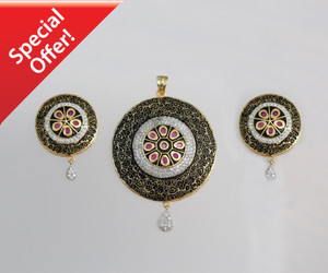 Red ruby Stone Round Pendant and Earrings Jewelry Sets