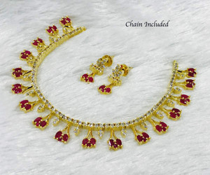 Ruby Red Gem Stone 14k Gold Plated Necklace