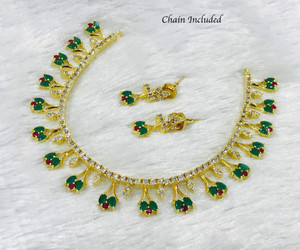 Ruby and Emerald Gem Stone 14k Gold Plated Necklace