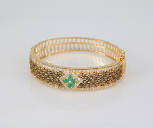 1 gram gold bangle studded emerald stone