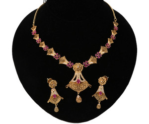 Ruby stone necklace set online