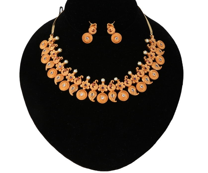 1 gram gold indian jewelry mango gold necklace floral design 1 gram gold indian jewelry aloadofball Images