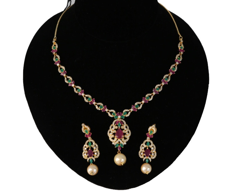AD necklace set with Low price   Ruby and Emerald stones Awesome ...