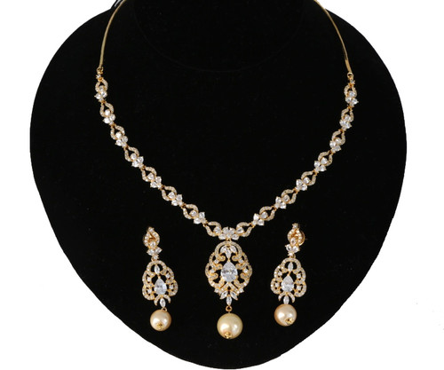 Bollywood Design Traditional Stylish Gold Plated AD Stone Studded Necklace Set