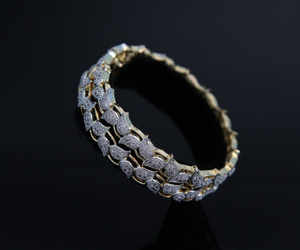 Gold Rhinestones Leaf Design Bollywood  Style Bangle Bracelet | American Diamond stone studded
