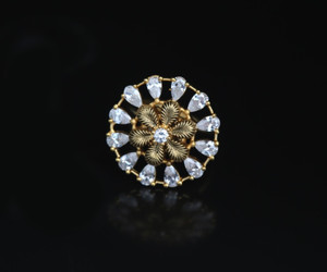 Indian Cubic Zirconia AD Clear Stone Gold Plated adjustable Women Finger Ring