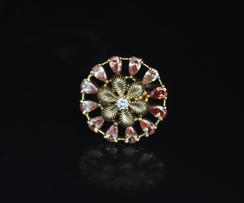 Beautiful delicate pink peach color Bollywood ring.