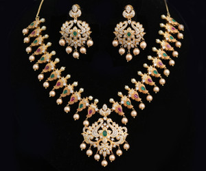 Gold Plated Indian Party wear American diamond & Pearl Necklace Set With Earring