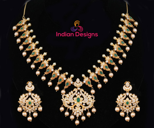 Gold plated Emerald stone AD necklace