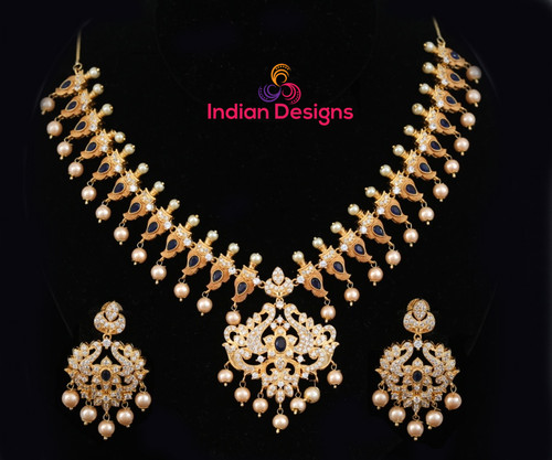 Fashion blue sapphire AD Gold Plated bridal costume jewellery necklace Earring set