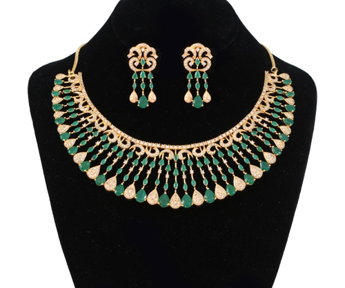 Imitation American Diamond Choker Necklace Set | Emerald and Clear stone Necklace