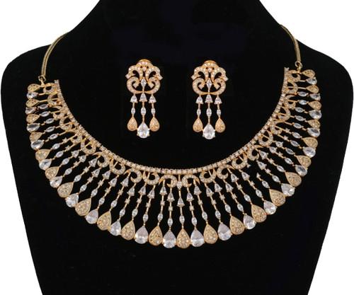 Indian Bollywood Style AD Wedding Bridal AD Fashion Jewelry Necklace Set.