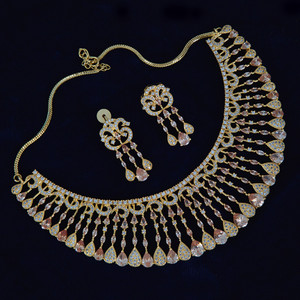 Indian Bollywood Style AD Wedding Bridal AD Fashion Jewelry Necklace Set.