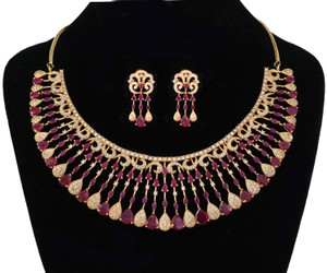 Style AD Wedding Bridal Ruby stones Fashion Jewelry Necklace Set