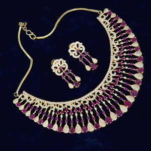 Indian Bollywood Style AD Wedding Bridal Ruby stones Fashion Jewelry Necklace Set.