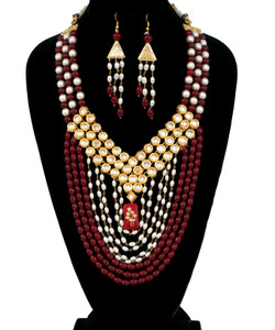 Coral Beads and round pearl Multi stranded Kundan long Necklace