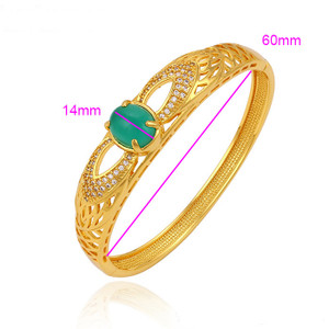 24K Gold color Jade stone Bangle from Indian designs
