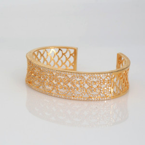 Open Bracelet Cuff Bangle | High polished 24K Gold plated bangle from India.